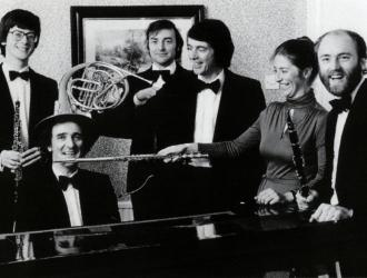 Nash Ensemble (some of) 1980s. Left to Right: Gareth Hulse (oboe), Ian Brown (piano), Brian Wightman (bassoon), John Pigneguy (horn), Judith Pearce (flute, Antony Pay (clarinet).
