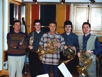 "(L to R) JP, Richard Bissill with Paul McCartney trying JP's horn,Richard Watkins,Michael Thompson -- recording Paul's ""Stately Horn"" quartet at his Hog Hill Mill studio near Hastings."