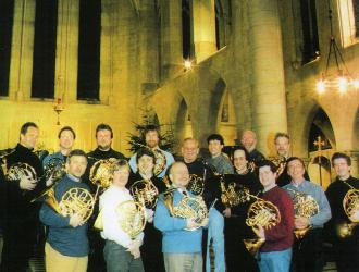 """ London Horn Sound"" sessions  1999.  Just about everybody who was anybody on the London horn-scene was involved in this unique extravaganza organised by ex-LSO 1st horn Hugh Seenan (3rd right) behind JP (2nd right)."