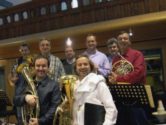 "Bond ""Die Another Day""  Sept 2002  Air Studios Hampstead. (front L) composer David Arnold and conductor Nick Dodd holding horn-section Wagner tubas. Horns (l to r) Paul Gardham, Hugh Seenan, Michael Thompson, Nigel Black, Richard Watkins, JP."
