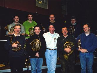 """ The Mummy Returns"" film sessions horn-section  2001.  (Back L to R) Martin Owen, Paul Gardham, Simon Rayner, Richard Watkins  (Front L to R) Hugh Seenan, Richard Bissill, Alan Silvestri (American composer/conductor and good bloke), JP, Nigel Black"