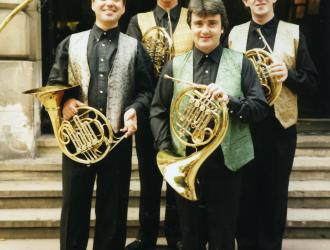 "Michael Thompson Horn Quartet 1997. (L to R) Michael Thompson, JP, Richard Watkins, Richard Bissill dressed for Paul McCartney concert at the Royal Albert Hall to perform Paul's ""Stately Horn"" quartet (also later at New York's Carnegie Hall)."