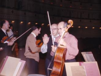 JP pic of Mtislav Rostropovich and conductor Gennadi Rozdestvensky on Carnegie Hall stage 1967 (Neville Marriner 2nd L). Rostropovich played 25 cello concertos (all  from memory) in 7 unforgettable concerts in New York with the London Symphony Orchestra