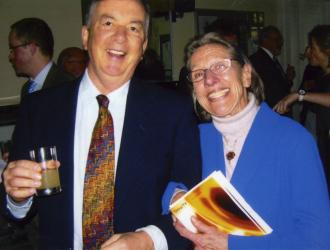 JP with Dr Ursula Jones on 1st March 2010 at the re-dedication of the renovated Philip Jones Brass Rooms at the Trinity Laban Conservatoire  of Music and Dance where Philip had been an inspirational Principal.