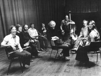 The Nash Ensemble of London 1970s. L to R:  Judith Pearce (flute) Robin Miller (oboe) Antony Pay (clarinet) Brian Wightman (bassoon)  JP (horn) Brian Hawkins (viola) Rodney Slatford (double bass) Christopher van Kampen (cello) Marcia Crayford (violin).