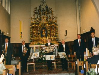 Swiss memorial concert after Philip Jones CBE passed away in July 2000. PJBE members l-r Roger Harvey, JP, James Gourlay, John Miller, James Watson, Michael Laird played in Grächen near Zermatt where Philip and his Swiss wife Ursula had a chalet.