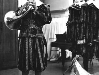 "Royal Opera House Covent Garden 1973. Period costume (including hand-made pigskin shoes) for on-stage wind-band in Mozart's ""Don Giovanni."" We played from memory, while following Colin Davis conducting in the pit."