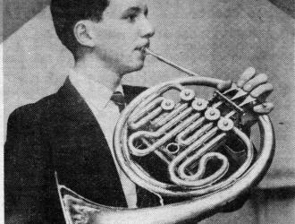 Schoolboy horn player 1962 from an article in the Brighton and Hove Herald featuring local young musicians.