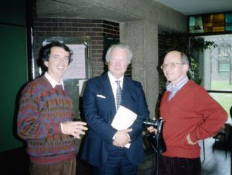 James Brown OBE with ex-students JP(L) and Peter Hastings(R). A special presentation was made to Jim Brown at the Barbican in the 1980s by some of his former  Academy students as part of a British Horn Society event at the Guildhall School of Music.