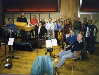 "BBC TV's ""Last of the Summer Wine"" band. The longest-running BBC TV sit-com featured Ronnie Hazlehurst's famously characterful music throughout.  Great band and great entertainment value on the recording sessions.  JP (left) and Ronnie H (3rd from left)."