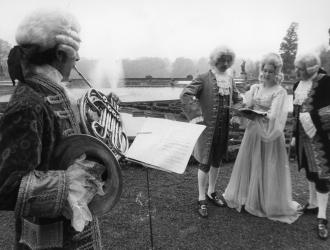 "Bach at Blenheim Palace June 1969. Oxford Festival performers (some of) for Bach's ""Coffee Cantata,"" incl. JP(left), seen here in period costume."